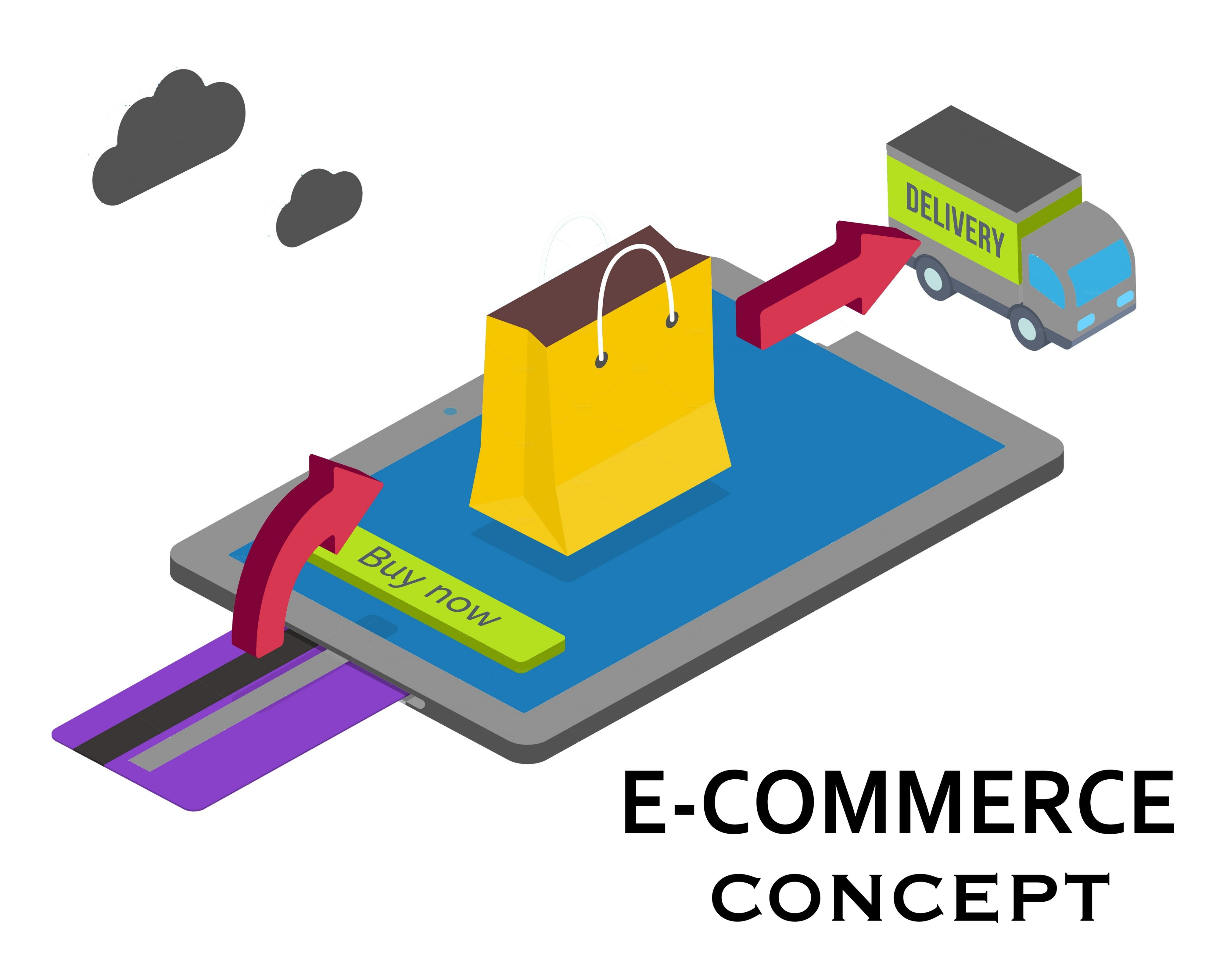 E-commerce or internet shopping concept with a credit card for payment and an arrow pointing to a shopping bag on a tablet computer screen leading to a delivery truck  vector illustration